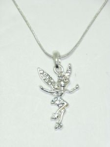 "Tinkerbell Fairy Crystal Necklace CZ Stone, 18"" Snake Chain"